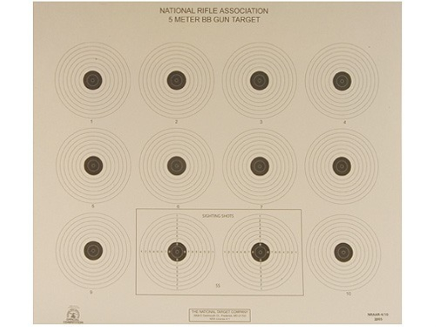 NRA Official Air Rifle Targets AR-4/10 5 Meter BB Gun Paper Package of 100