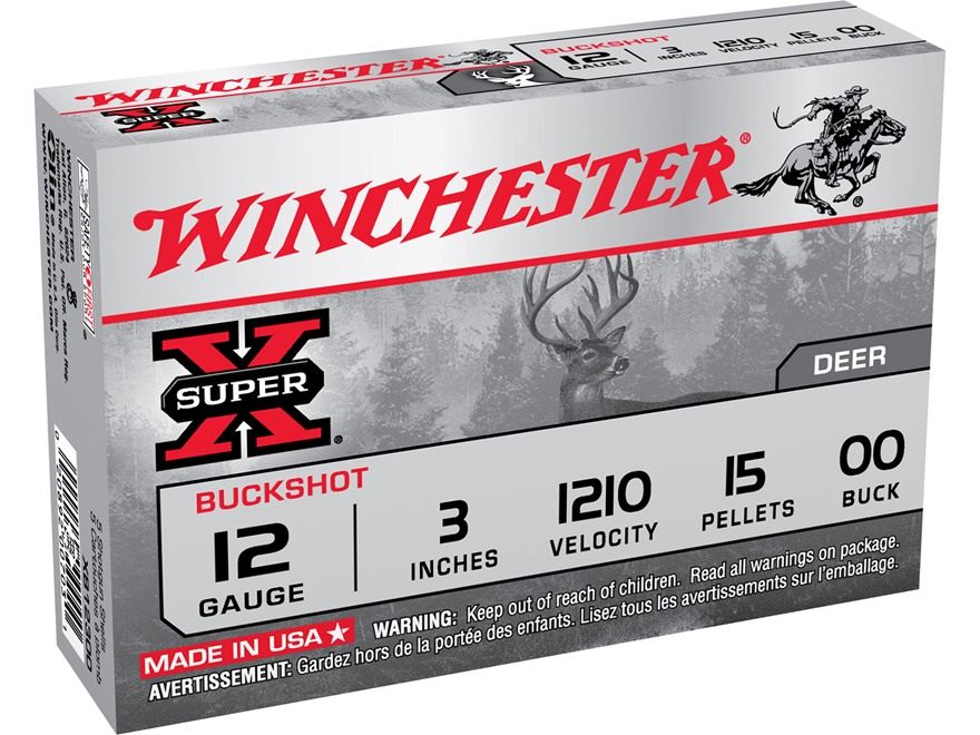 "Winchester Super-X Magnum Ammunition 12 Gauge 3"" Buffered 00 Buckshot 15 Pellets"