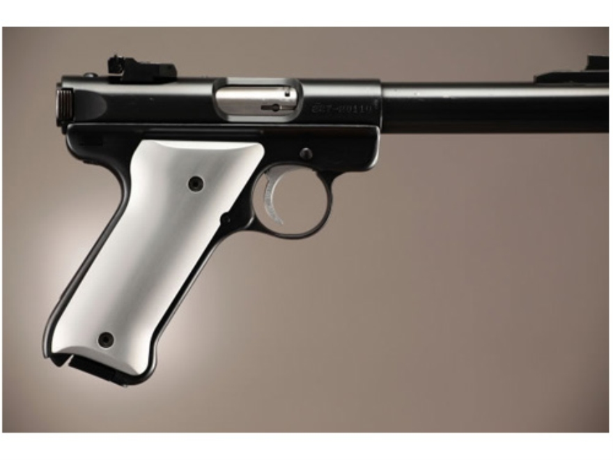 Hogue Extreme Series Grip Ruger Mark II, Mark III Brushed Aluminum Gloss Clear