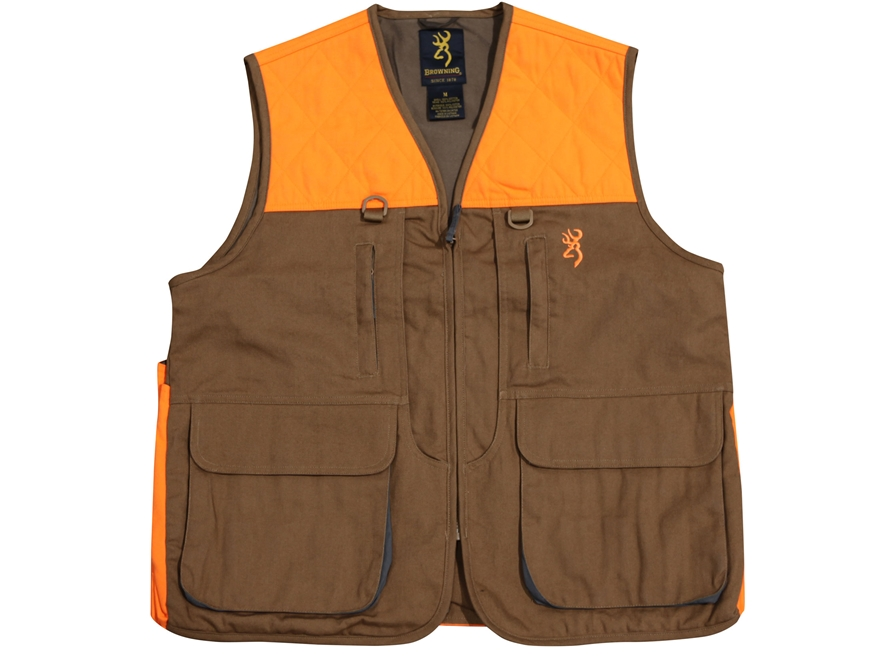 Browning Men's Pheasants Forever Vest Cotton and Polyester Field Tan and Blaze Orange Medium 40-42