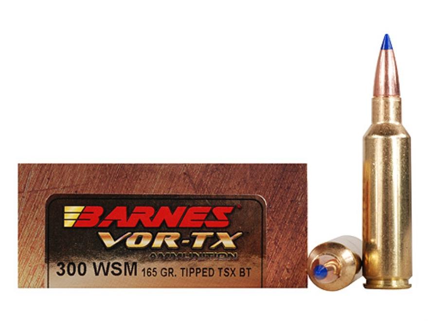 Barnes VOR-TX Ammunition 300 Winchester Short Magnum (WSM) 165 Grain Tipped Triple-Shock X Bullet Boat Tail Lead-Free Box of 20