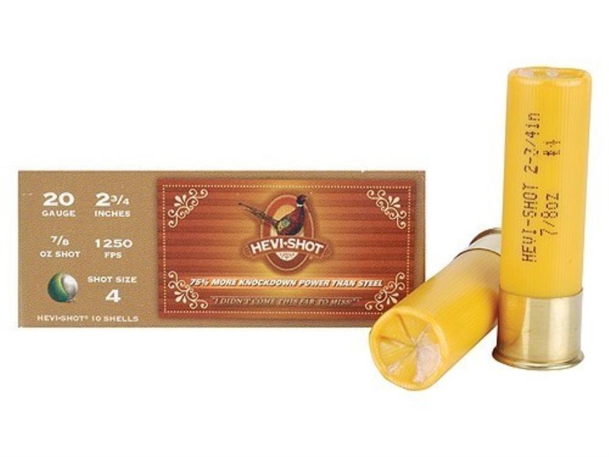 "Hevi-Shot Pheasant Ammunition 20 Gauge 2-3/4"" 7/8 oz #4 Non-Toxic Shot Box 10"