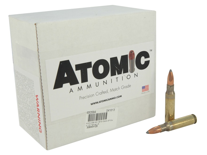 Atomic Tactical Low Recoil Ammunition 308 Winchester 125 Grain Sierra Soft Point Box of 100