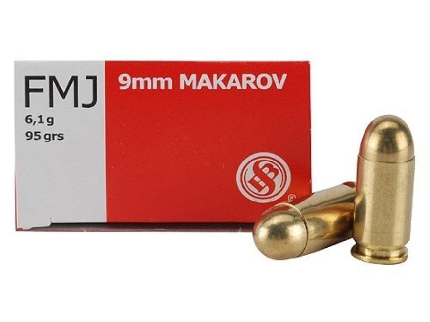 Sellier & Bellot Ammunition 9x18mm (9mm Makarov) 95 Grain Full Metal Jacket Box of 50