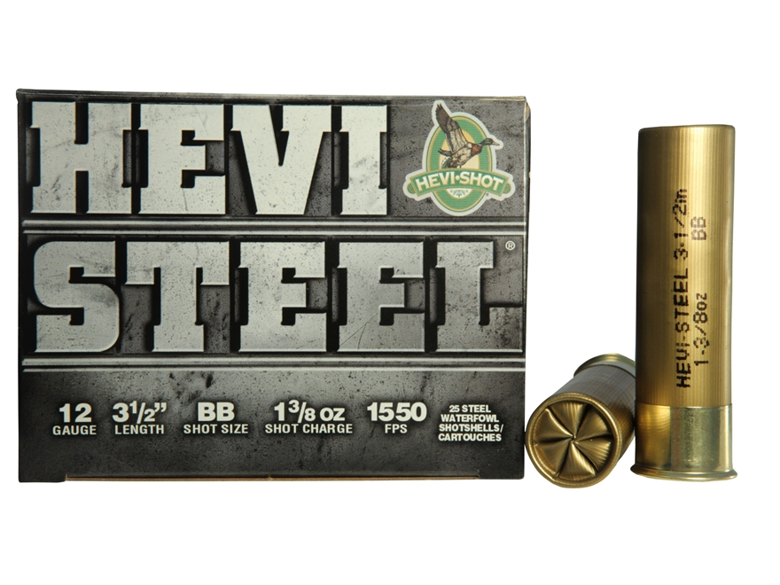 "Hevi-Shot Hevi-Steel Waterfowl Ammunition 12 Gauge 3-1/2"" 1-3/8 oz BB Non-Toxic Shot"