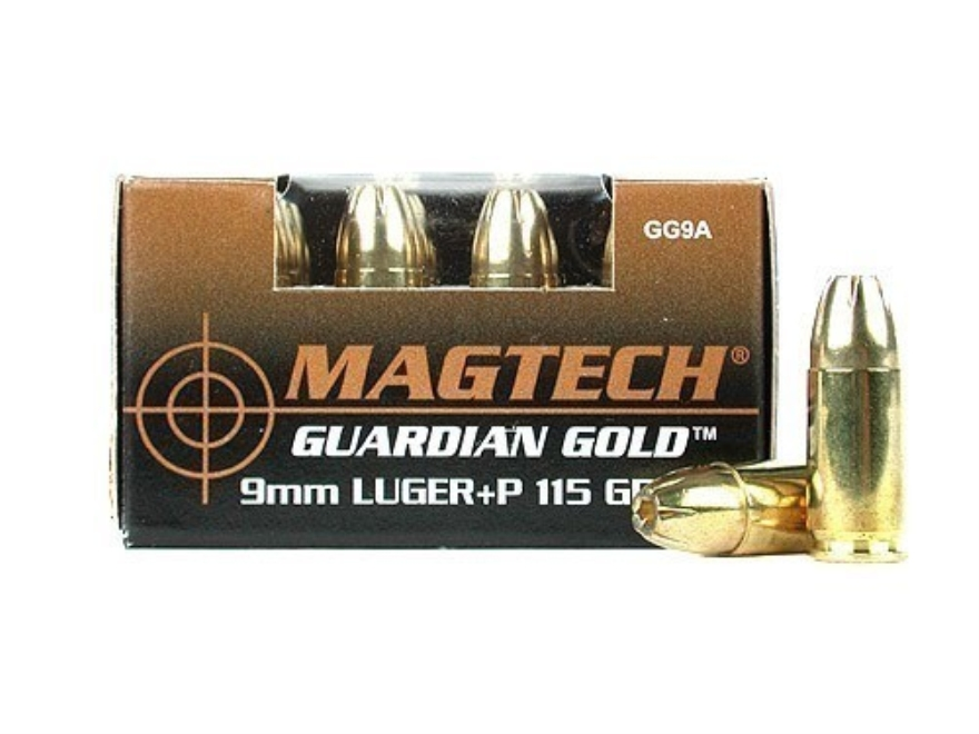Magtech Guardian Gold Ammunition 9mm Luger +P 115 Grain Jacketed Hollow Point Box of 20