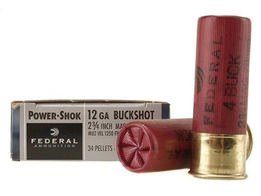 "Federal Power-Shok Ammunition 12 Gauge 2-3/4"" Buffered #4 Buckshot 34 Pellets Box of 5"