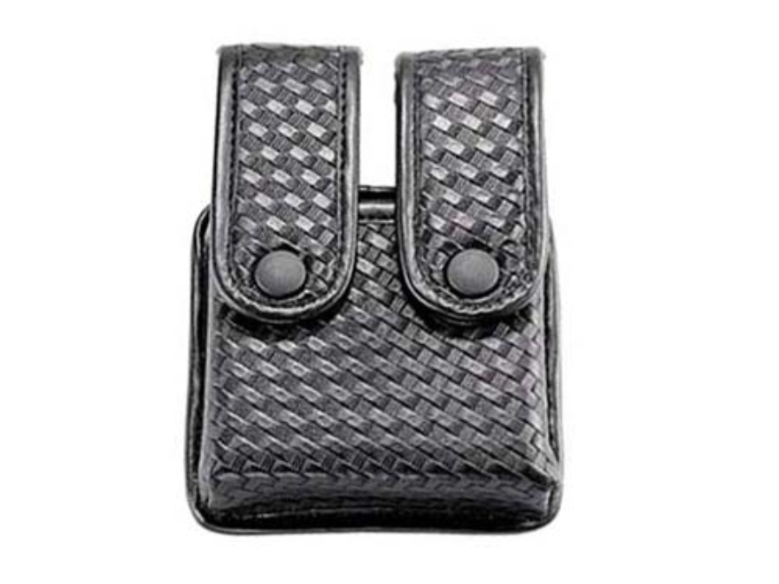Uncle Mike's Divided Double Magazine Pouch Double Stack Magazines Snap Closure Molded Insert Nylon Black