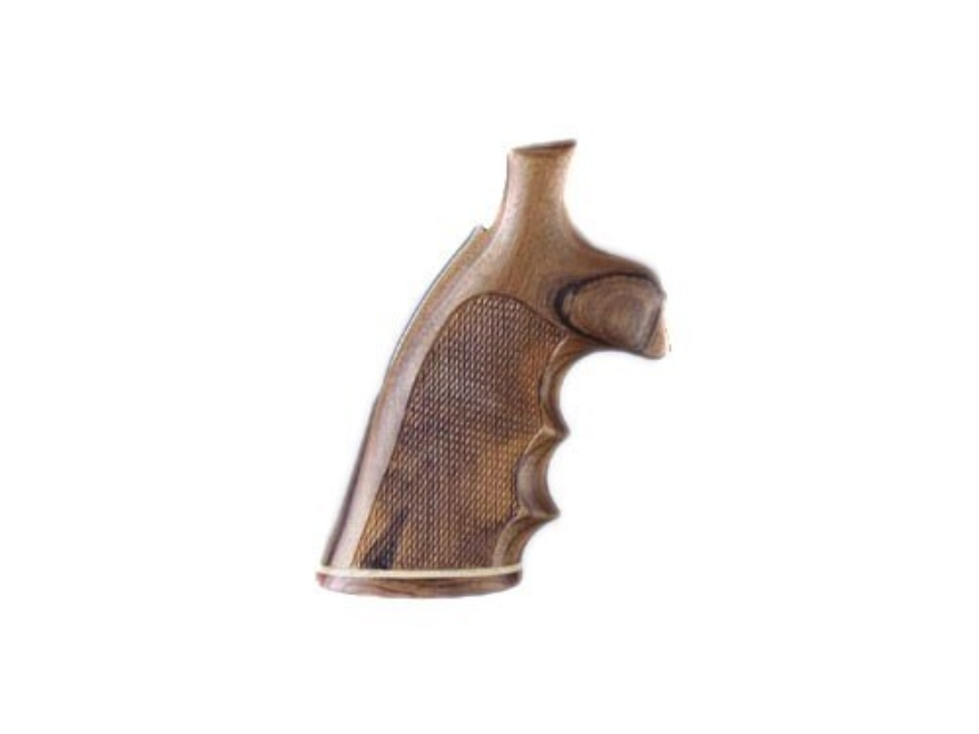 Hogue Fancy Hardwood Conversion Grips with Accent Stripe, Finger Grooves and Contrasting Butt Cap S&W K, L-Frame Round to Square Butt Checkered