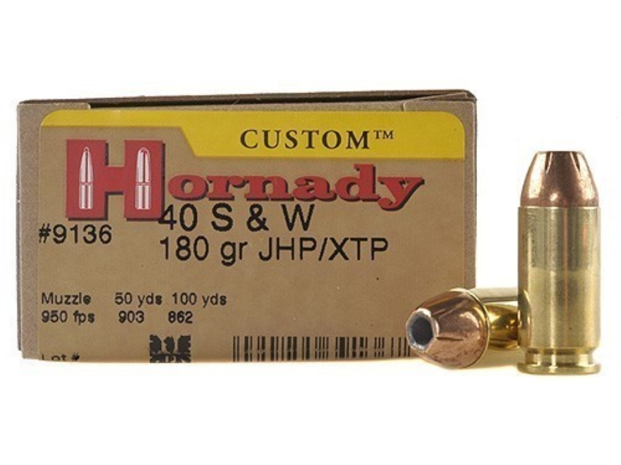 Hornady Custom Ammunition 40 S&W 180 Grain XTP Jacketed Hollow Point Box of 20