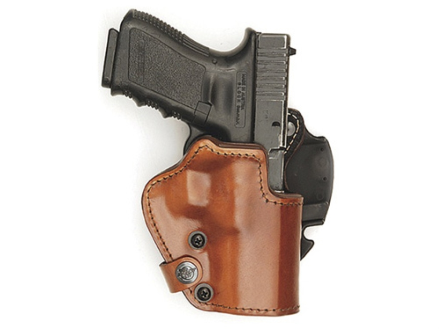 Front Line LKC 3-Layer Belt Holster Right Hand Glock 19, 23, 32 Suede Lined Leather and Kydex Brown