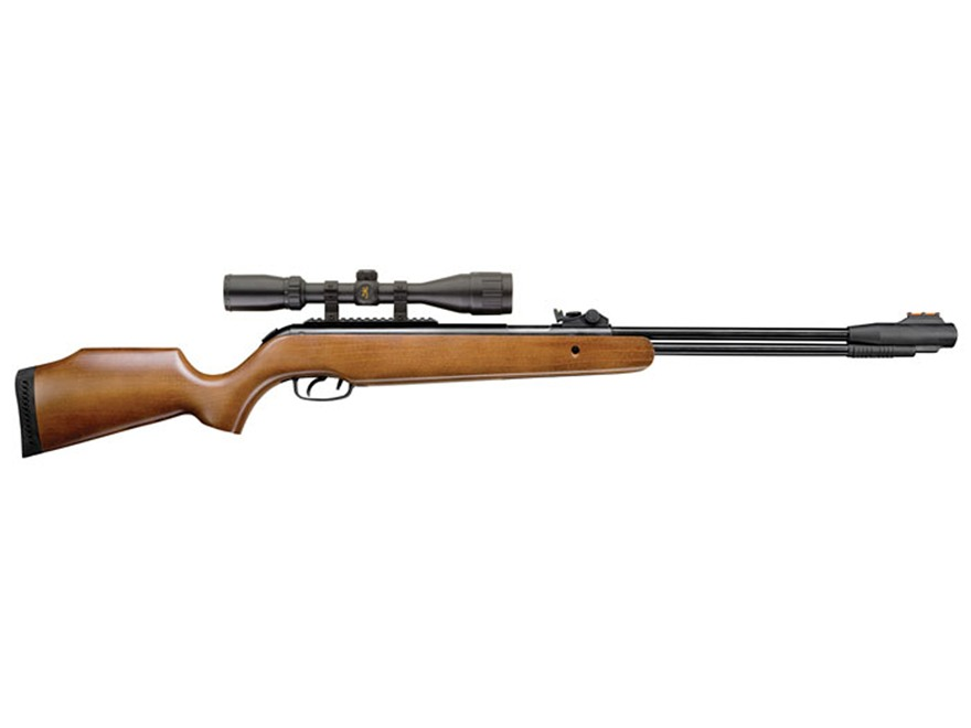 Browning Leverage Pellet Air Rifle Wood Stock Blue Barrel with Airgun Scope 3-9x40mm Matte