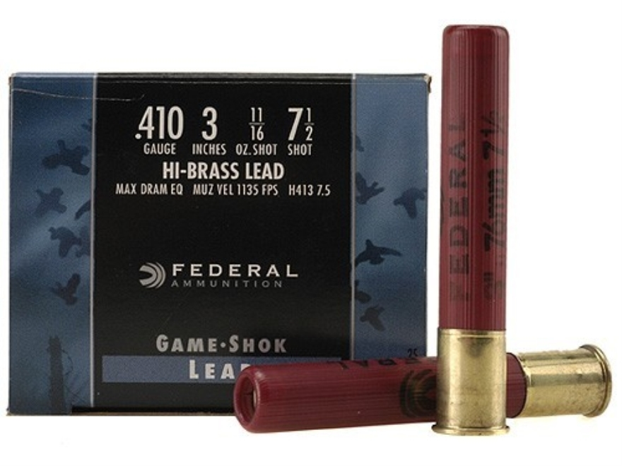 "Federal Game-Shok Hi-Brass Ammunition 410 Bore 3"" 11/16 oz #7-1/2 Shot Box of 25"