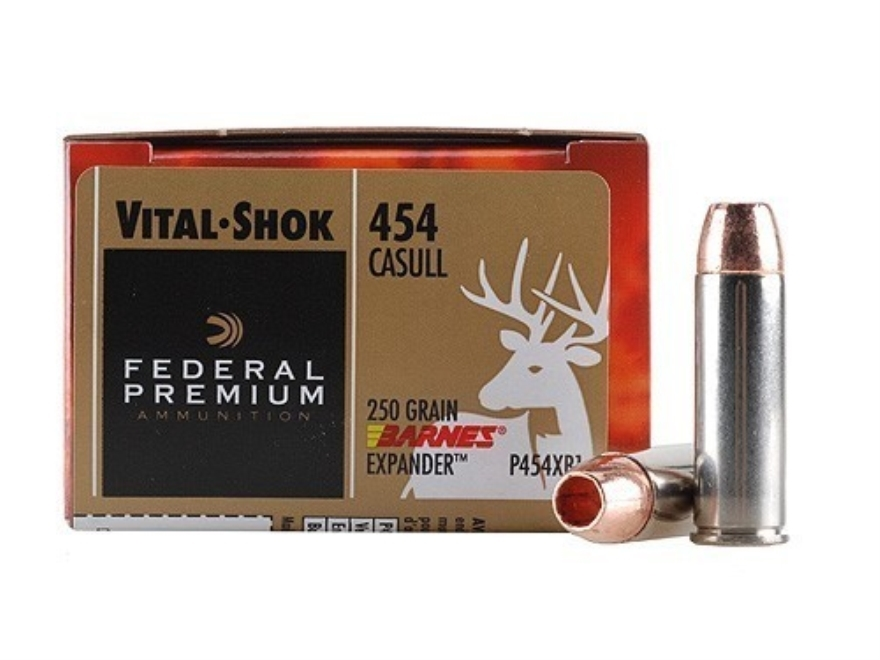 Federal Premium Vital-Shok Ammunition 454 Casull 250 Grain Barnes XPB Hollow Point Lead-Free Box of 20