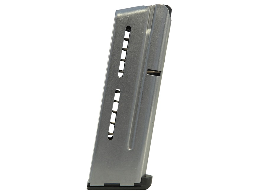 Wilson Combat Elite Tactical Magazine ETM with Low Profile Steel Base Pad 1911 Officer 9mm Luger 8-Round Stainless Steel