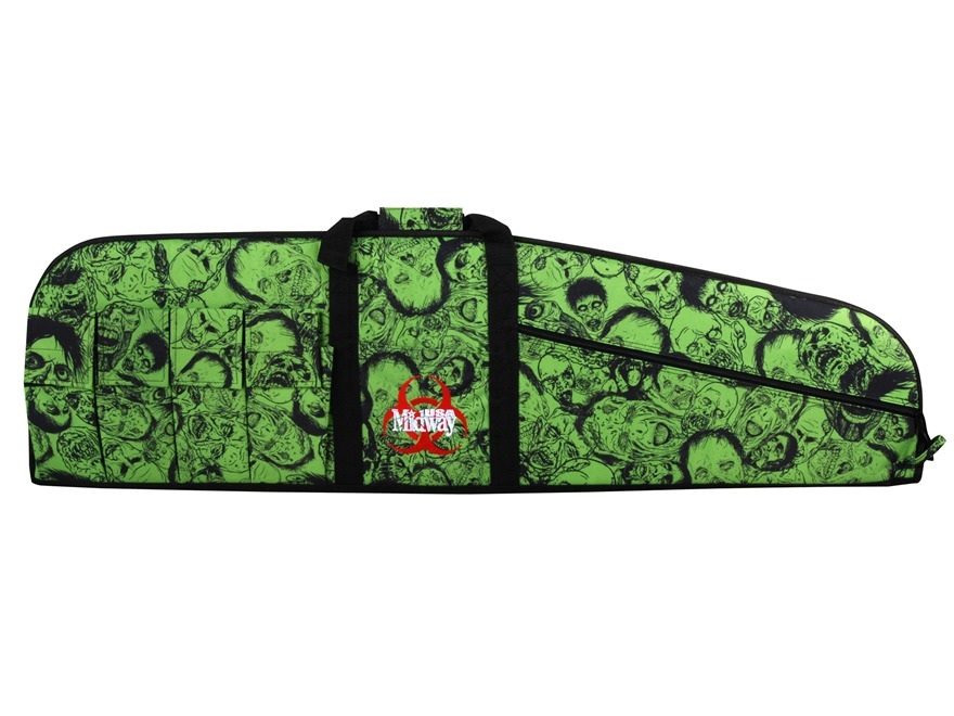 "MidwayUSA Zombie Tactical Rifle Gun Case 46"" with 6 Pockets PVC Coated Polyester Black and Green"