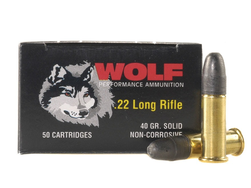 Wolf Match Target Ammunition 22 Long Rifle 40 Grain Lead Round Nose Box of 500 (10 Boxes of 50)