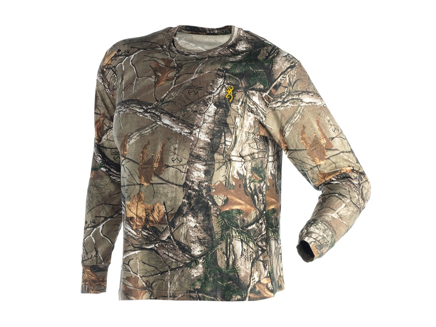 Browning Men's Wasatch T-Shirt Long Sleeve Cotton Polyester Blend Realtree Xtra Camo XL 46-48