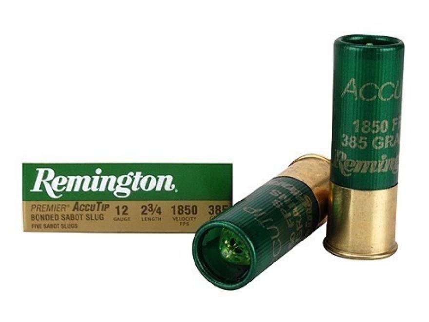 """Remington Premier Ammunition 12 Gauge 2-3/4"""" 385 Grain AccuTip Bonded Sabot Slug with P..."""