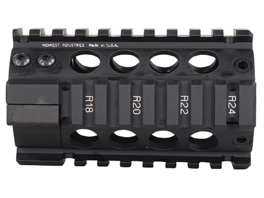 Midwest Industries Free Float Tube Handguard Quad Rail AR-15 Pistol Length Aluminum Black