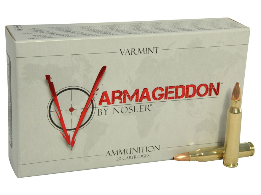 Nosler Varmageddon Ammunition 223 Remington 55 Grain Hollow Point Flat Base Box of 20