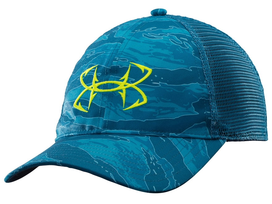 Under armour fish hook mesh back cap polyester saphire lake for Under armour fish hook hat