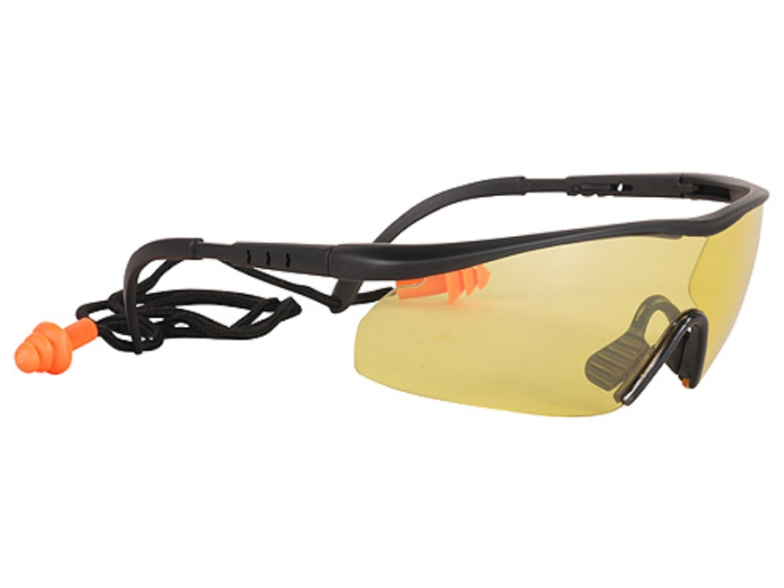 Real Avid Shooter Shields Shooting Glasses With Corded Ear Plugs Hi-Vis Yellow Lens