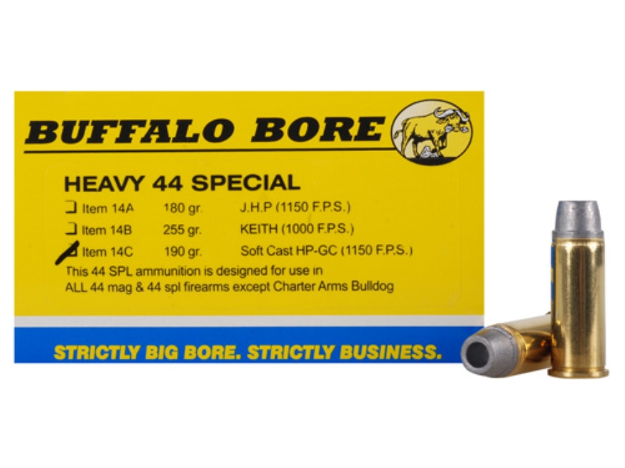 Buffalo Bore Ammunition 44 Special 190 Grain Lead Soft Cast Hollow Point Gas Check Box of 20