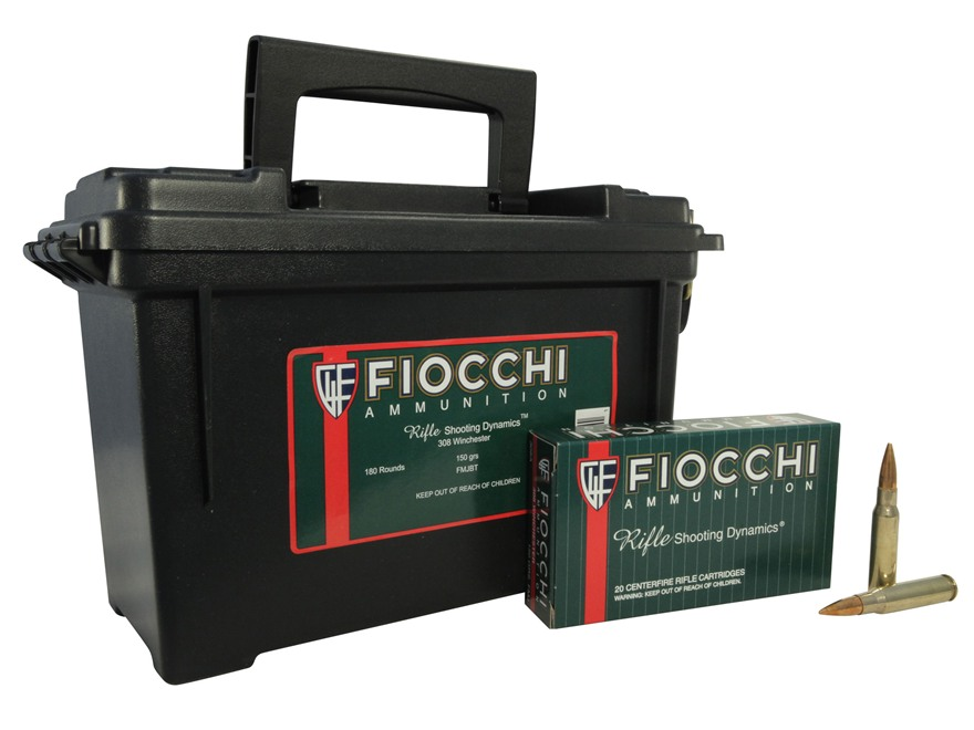Fiocchi Shooting Dynamics Ammunition 308 Winchester 150 Grain Full Metal Jacket Ammunition Can of 180