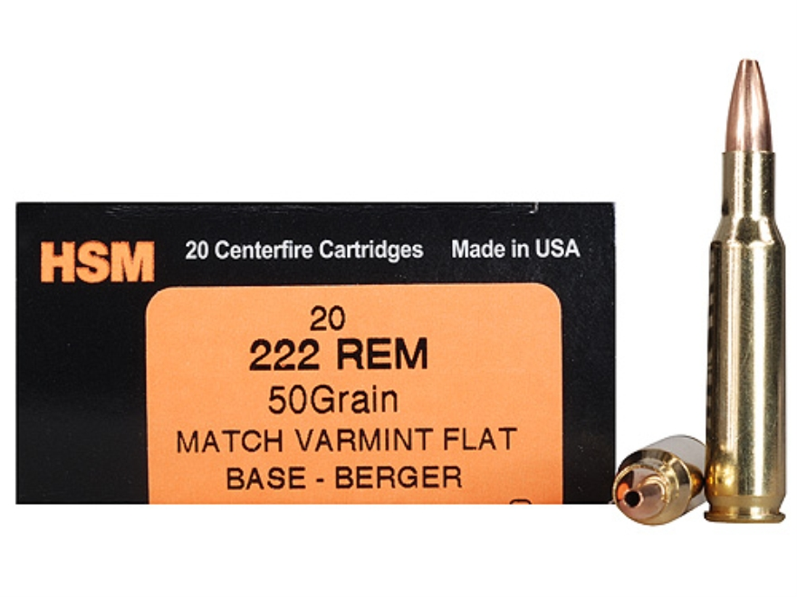 HSM Varmint Gold Ammunition 222 Remington 50 Grain Berger Varmint Hollow Point Flat Base Box of 20