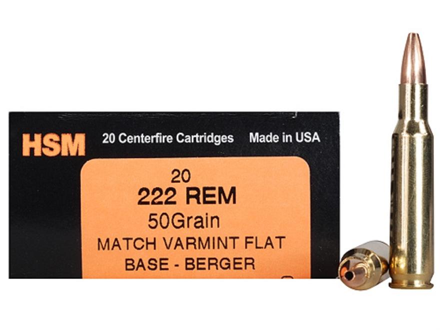 HSM Varmint Gold Ammunition 222 Remington 50 Grain Berger Varmint Hollow Point Flat Bas...