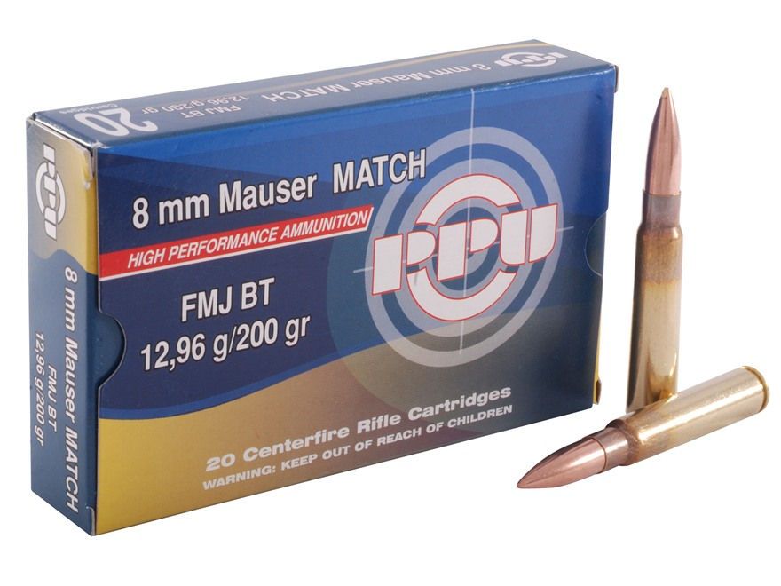 Prvi Partizan Match Ammunition 8x57mm JS Mauser (8mm Mauser) 200 Grain Full Metal Jacke...