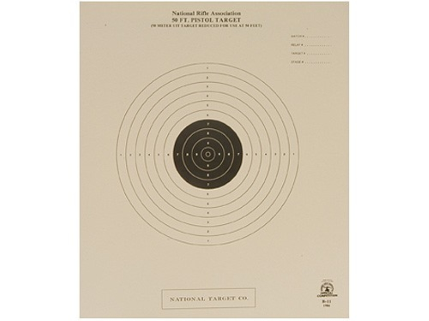 NRA Official International Pistol Targets B-11 50' Slow Fire Paper Package of 100