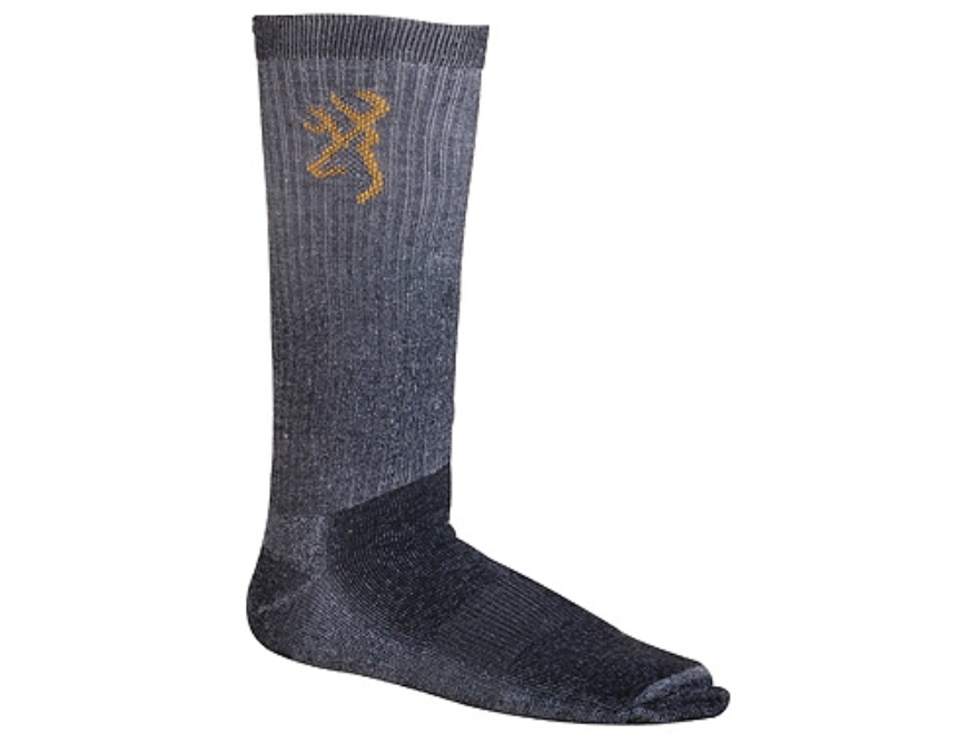 Browning Men's Lightweight Crew Socks Synthetic Blend Black Large 10-13