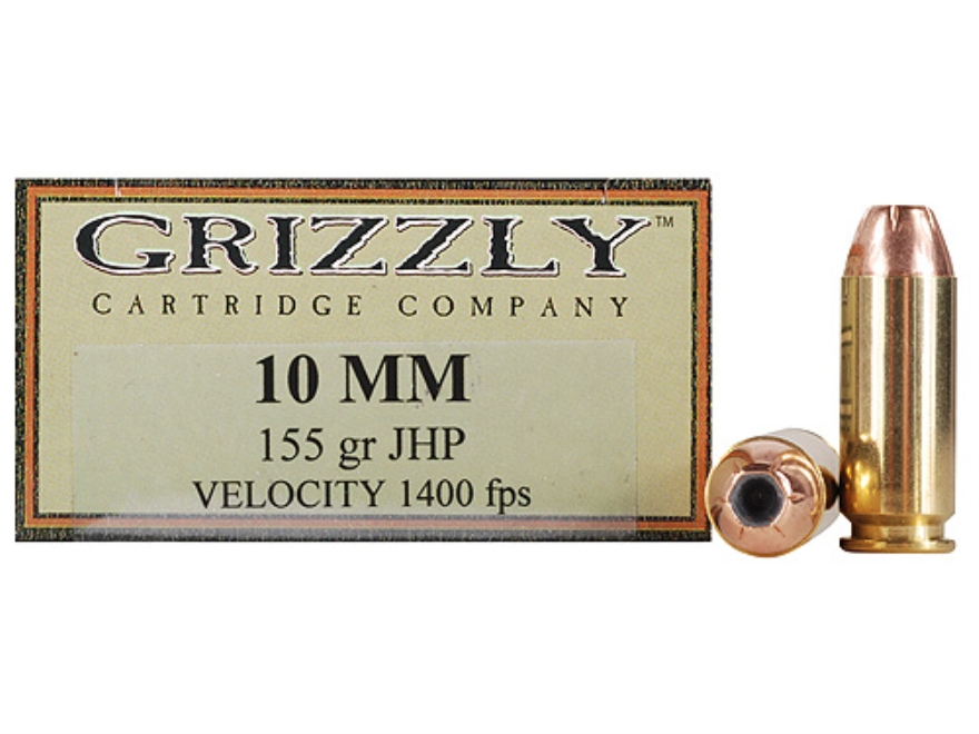 Grizzly Ammunition 10mm Auto 155 Grain Jacketed Hollow Point Box of 20