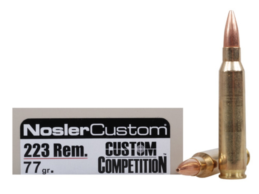 Nosler Match Grade Ammunition 223 Remington 77 Grain Custom Competition Match Box of 20