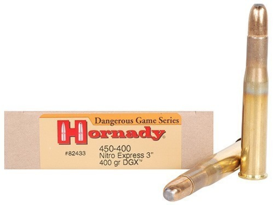 "Hornady Dangerous Game Ammunition 450-400 Nitro Express 3"" (410 Diameter) 400 Grain DGX Round Nose Expanding Box of 20"