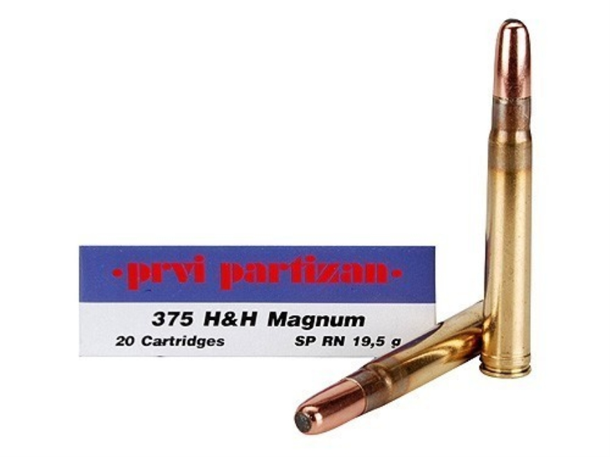Prvi Partizan Ammunition 375 H&H Magnum 300 Grain Round Nose Soft Point Box of 20