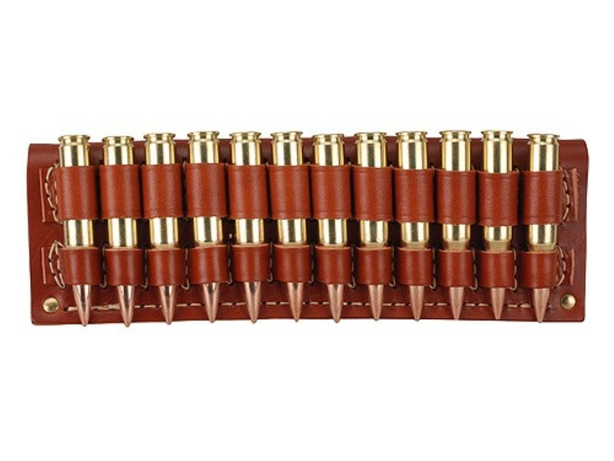 Hunter Cartridge Belt Slide Rifle Ammunition Carrier 300 through 375 Caliber Magnum 12-Round Leather Brown