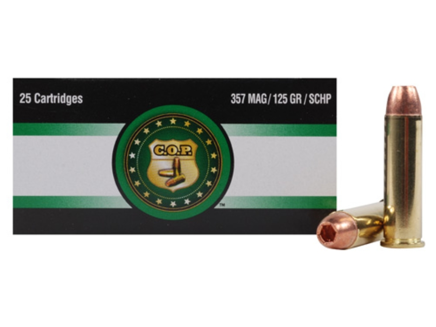 Copper Only Projectiles (C.O.P.) Ammunition 357 Magnum 125 Grain Solid Copper Hollow Po...