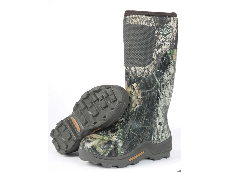"Muck Woody Ex Pro 17"" Waterproof Insulated Hunting Boots Rubber and Nylon Mossy Oak Break-Up Camo Mens 5 D"