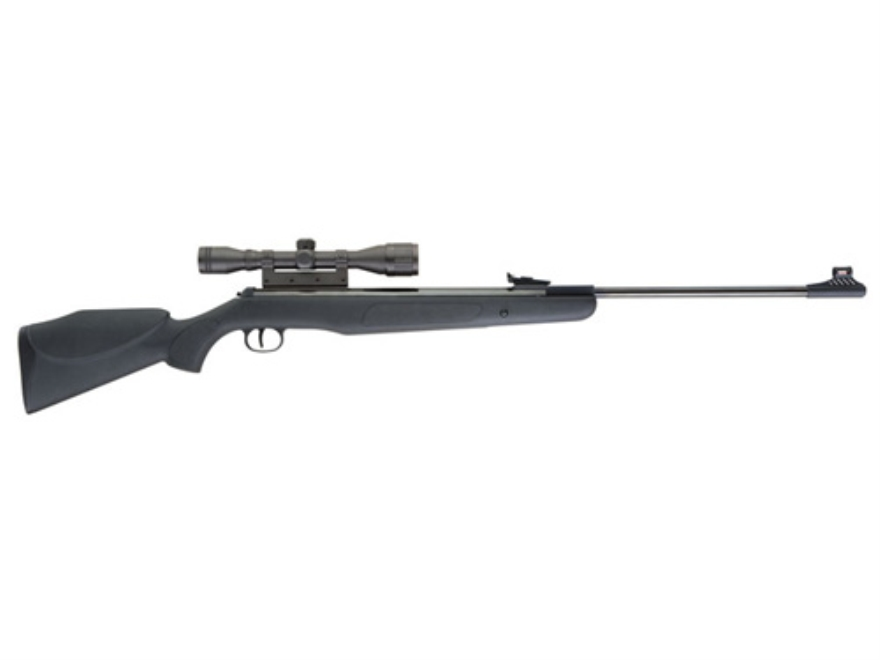 RWS 350 P Magnum Air Rifle 177 Caliber Pellet Black Polymer Stock Blue Barrel with Airgun Scope 4x32mm Matte