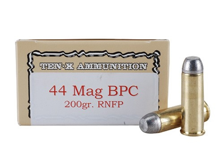 Ten-X Cowboy Ammunition 44 Remington Magnum 200 Grain Lead Round Nose Flat Point BPC Box of 50