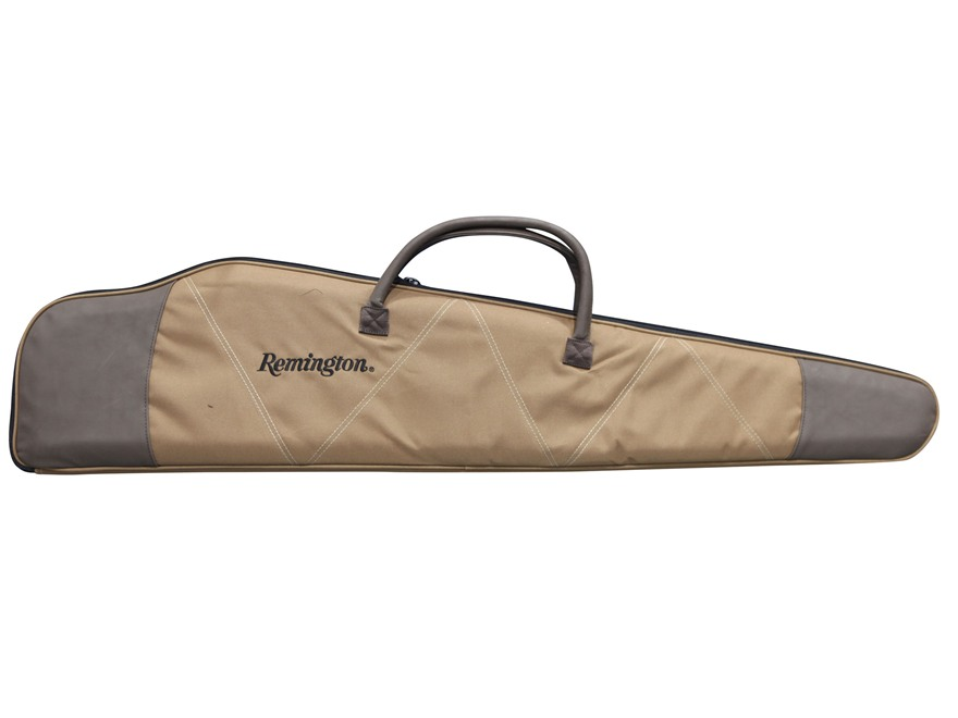 "Remington Quilted Scoped Rifle Case 48"" Nylon with Leather Trim Cinnamon and Brown"