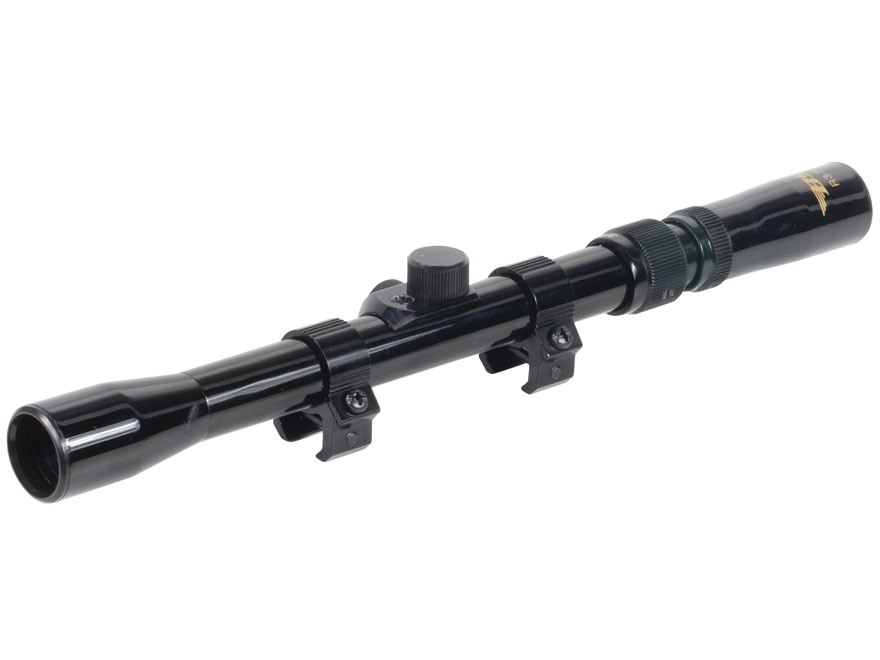 "BSA Rimfire Rifle Scope 3/4"" Tube 3-7x 20mm Duplex Reticle Gloss with 3/8"" Dovetail Rings"
