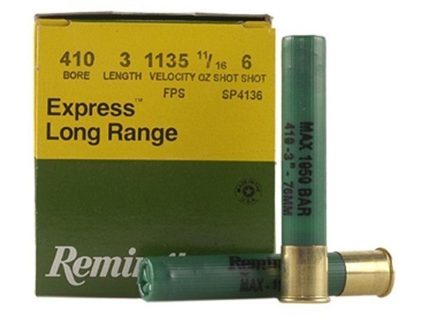 "Remington Express Long Range Ammunition 410 Bore 3"" 11/16 oz #6 Shot Box of 25"