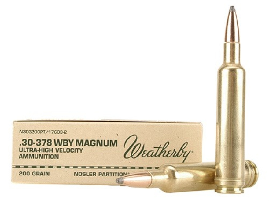 Weatherby Ammunition 30-378 Weatherby Magnum 200 Grain Nosler Partition Box of 20