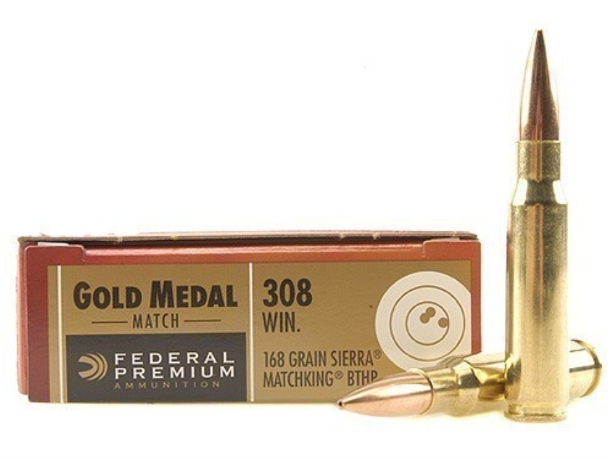 Federal Premium Gold Medal Ammunition 308 Winchester 168 Grain Sierra MatchKing Hollow Point Boat Tail