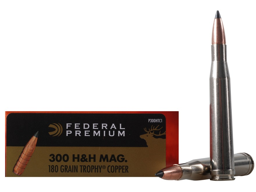 Federal Premium Vital-Shok Ammunition 300 H&H Magnum 180 Grain Trophy Copper Tipped Boat Tail Lead-Free Box of 20