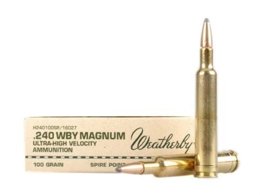 Weatherby Ammunition 240 Weatherby Magnum 100 Grain Hornady InterLock Spire Point Box of 20